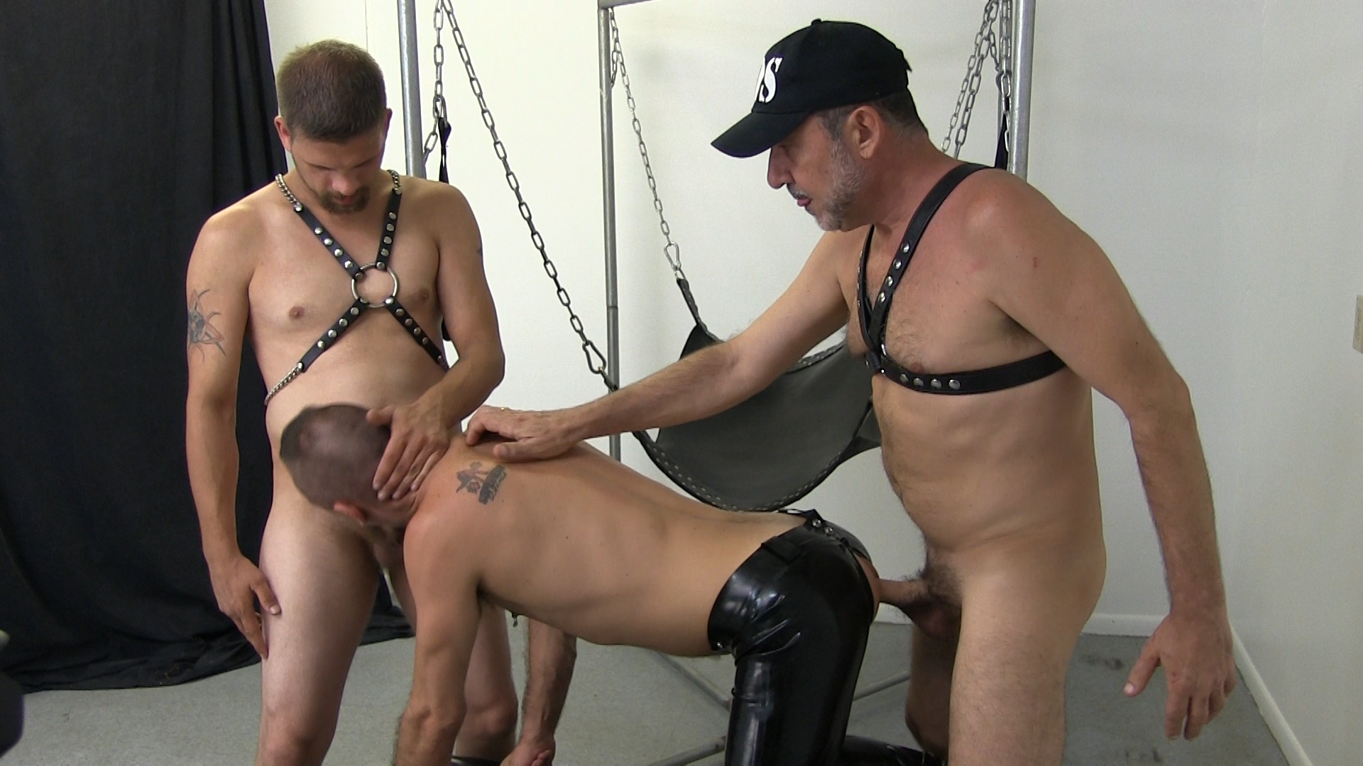 Leather Sex: Victor and Tristen Sling Fuck Ethan